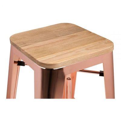 Rose Gold Tolix Bar Stool Wood Seat