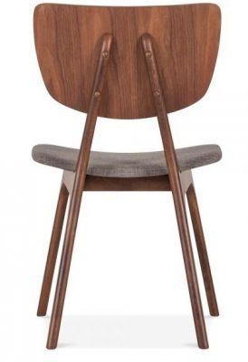 Pierre Upholstered Designer Dining Chair Dark Wood