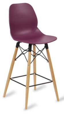 Mylo High Stool With A Plum Seat And Beech Legs