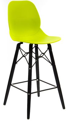 Mylo Designer High Stool With Black Legs And A Lime Green Seat