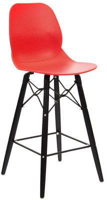 Mylo Dedsigner Stool With A Red She;ll And Black Legs