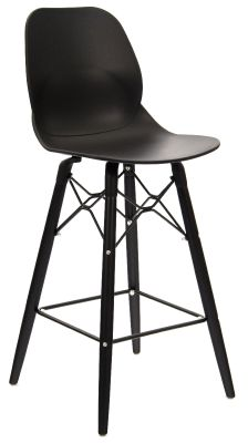 Mylo Designer Stool With A Black Shell And Black Legs