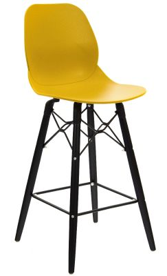Mylo High Stool With A Mustard Seat And Black Legs