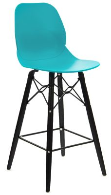 Mylo High Stool With A Turquoise Seat And Black Legs