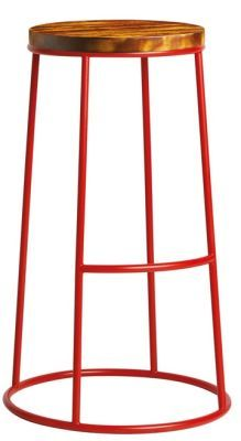 Maxo High Stool In Red With A Pine Seat