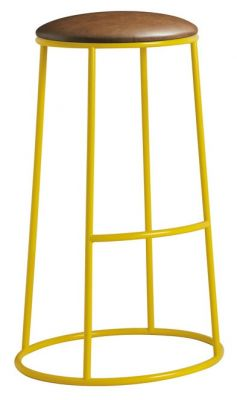 Maxo Metal High Stool With A Yellow Frame And Brown Faux Leather Seat
