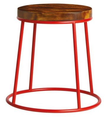 Maxo Low Stool In Red With A 32mm Pine Seat