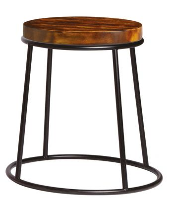 Maxo Low Stool With A Raw Finish And Pine Seat