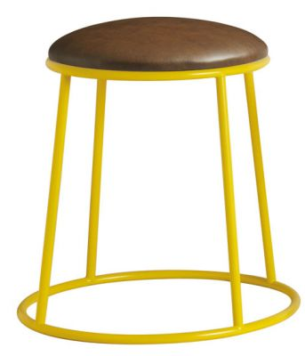 Maxo Loiw Stool With A Yellow Frame And Brown Faux Leather Seat