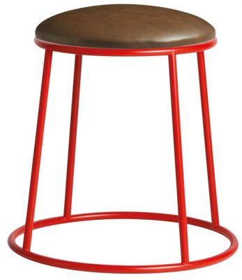 Maxo Low Stool In Red Witha Faux Leather Seat
