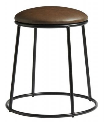 Maxo Low Stool With A Black Frame And Brown Faux Leather Seat