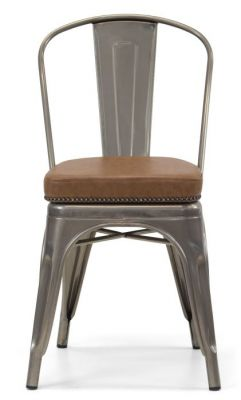 Tolix V2 Gun Mral Side Chair With A Leather Sudded Seat Front View 2