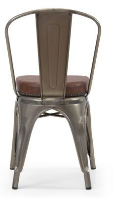 Tolix V2 Side Chair Ion Gun Metal With A Leather Studded Seat Rear View 2