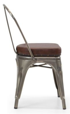 Tolix V2 Side Chair In Gun Metal With A Leather Suudded Seat Side View