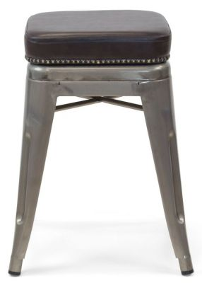 Tolix V2 Gun Metal Low Stool With A Leather Studded Seat 1