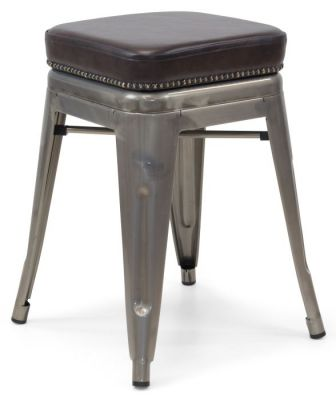 Tolix V2 Low Stool In Gun Metal With A Leather Studded Seat 2