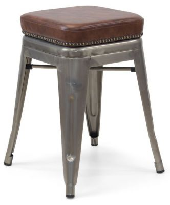Tolix V2 Low Stool With A Leather Studded Seat 4