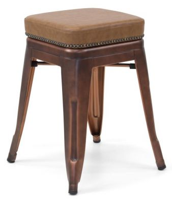 Tolix V2 Low Stool In Copper With A Leather Studded Seat 2