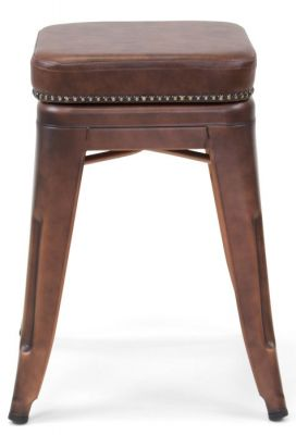 Tolix V2 Low Stool In Copper With A Leather Studded Seta 3