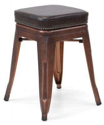Tolix V2 Low Stool In Copper With A Leather Studded Seat 4
