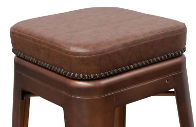 Tolix V2 Low Stool Leather Seat Detail Shot