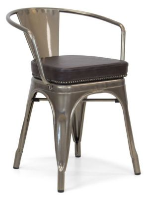 Tolix V2 Arm Chair With A Gun Metal Frame And Studded Leather Seat Front Angle View