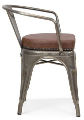 Tolix V2 Arm Chair In A Gun Metal Finish With A Leather Sudded Seat Side View