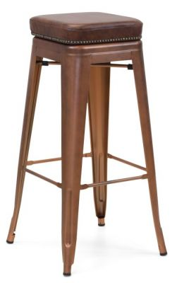 Tolix V2 High Stool In A Coper Finish With A Leather Studded Seat Front Angle View