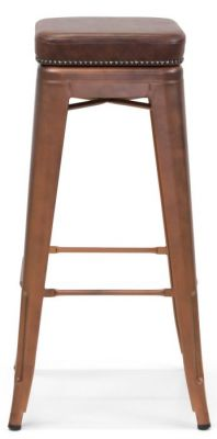 Tolix V2 High Stool Ina Copper Finish With A Leather Studded Seat Frint View