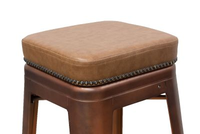 Tolix V2 High Stool With A Leather Studded Seat Detail Shot