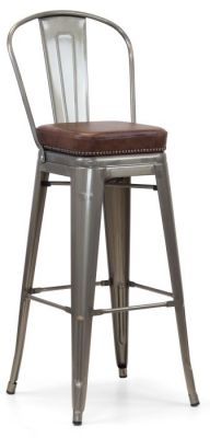 Tolix V2 Gun Metal High Chair Withj Studded Leather Seat Front Angle View