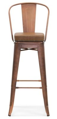 Tolix V2 High Chair In Copper With A Leather Studded Seat Front View