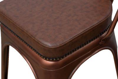 Tolix V2 Copper Chair Leather Detail Shot