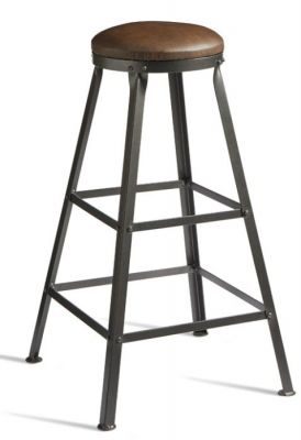 Henlade High Stool With A Brown Faux Leather Seat