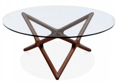 Niga Glass Coffee Table With A Walnut Frame 3