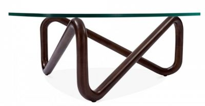 Sika Designer Glass Coffee Table With A Walnut Frame 2