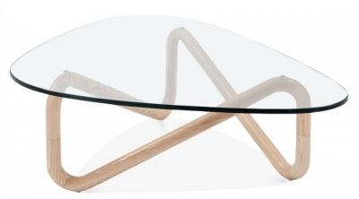 Sika Designer Glass Coffee Table Wit A Natural Frame 1