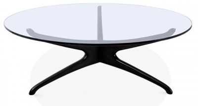Roma Round Glass Coffee Table With A Black Frame 1
