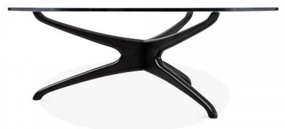 Roma Round Glass Coffee Table With A Black Frame 2