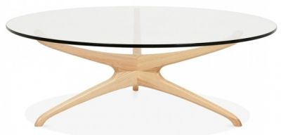 Roma Designer Glass Coffee Table With A Natural Frame 1