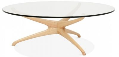 Roma Designer Glass Coffee Table With A Natural Frame 3
