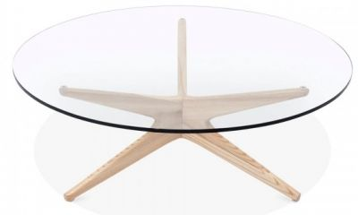 Starburst Designer Coffee Table With A Natural Frame 5