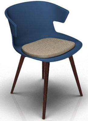 Elegante 4 Leg Designer Chair With Seat Pad - Blue And Wenge Dove Grey