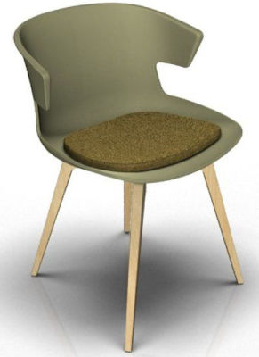 Elegante 4 Leg Designer Chair With Seat Pad - Green And Beech Olive Green
