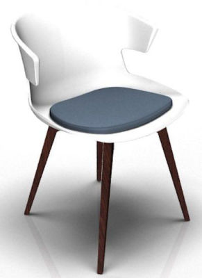 Elegante 4 Leg Designer Chair With Seat Pad - White And Beech Blue