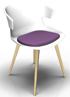 Elegante 4 Leg Designer Chair With Seat Pad - White And Beech Violet