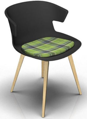 Elegante Designer Chair With Seat Pad - Anthracite And Beech Tartan Green