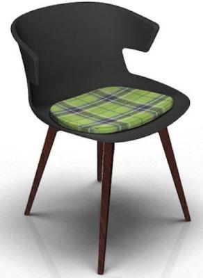 Elegante Designer Chair With Seat Pad - Anthracite And Wenge Tartan Green