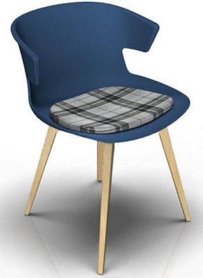 Elegante Designer Chair With Seat Pad - Blue And Beech Tartan Grey