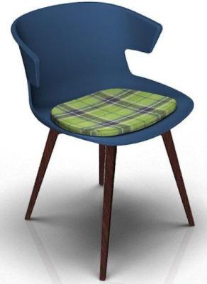 Elegante Designer Chair With Seat Pad - Blue And Wenge Tartan Green